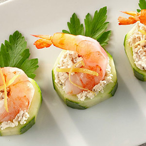 Shrimp with Boursin Pepper Cheese and Sliced Cucumber with Boursin Pepper Cheese